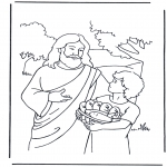 Coloriages Bible - 5 pains et 2 poisson 4