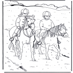 Coloriages d'animaux - A cheval 1