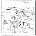 Coloriages d'animaux - A cheval 2
