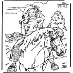 Coloriages d'animaux - A cheval 4