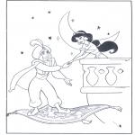 Personnages de bande dessinée - Aladin à son tapis volant