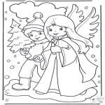Coloriages Noël - Ange et garçon