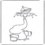 Coloriages pour enfants - Babar avec bateau