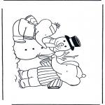 Coloriages pour enfants - Babar avec bonhomme de neige