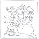 Coloriages hiver - Bataille à boules de neige