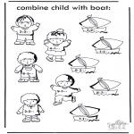 Bricolage coloriages - Bateau et enfant