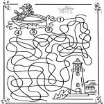 Bricolage coloriages - Bateau labyrinthe