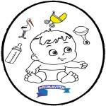 Coloriage thème - Bébé - Dessin à piquer 3