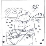 Coloriages pour enfants - Bébé en landeau