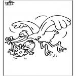 Coloriage thème - Bébé et Cigogne 1