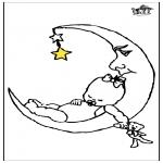 Coloriages pour enfants - Bébé et la lune