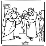 Coloriages Bible - Bébé Jésus dans le temple