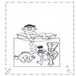 Coloriages pour enfants - Bert et Ernie à la plage
