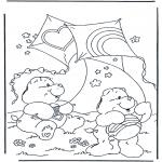 Coloriages pour enfants - Bisounours avec cerf-volant