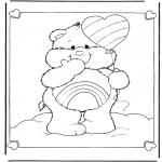 Coloriages pour enfants - Bisounours ballon
