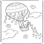 Coloriages pour enfants - Bisounours - Montgolfière
