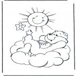 Coloriages pour enfants - Bisounours soleil