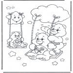 Coloriages pour enfants - Bisounours sur la balançoire