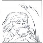 Coloriages faits divers - Blanche-Neige mange la pomme