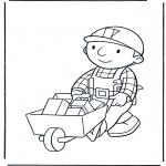 Coloriages pour enfants - Bob avec brouette 1