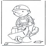 Coloriages pour enfants - Bob avec brouette 2
