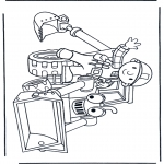 Coloriages pour enfants - Bob avec un bulldozer