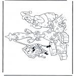 Coloriages pour enfants - Bob l'éponge avec sapin de Noël