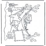 Coloriages pour enfants - Bob l'éponge dans le hamac