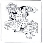 Coloriages pour enfants - Bob l'éponge en moto