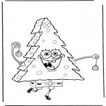 Coloriages pour enfants - Bob l'éponge 'sapin de Noël'