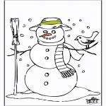 Coloriages hiver - Bonhomme de neige 2