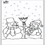 Coloriages hiver - Bonhomme de neige 4