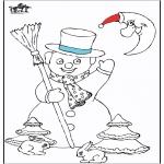 Coloriages hiver - Bonhomme de neige 5
