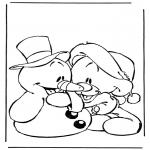 Personnages de bande dessinée - Bonhomme de neige avec ourson