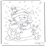 Coloriages hiver - Bonhomme de neige et lapins