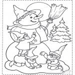 Coloriages Noël - Bonhomme de neige