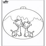 Coloriages Noël - Boule de Noël - Girafe
