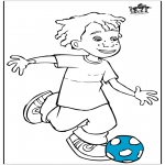 Coloriages faits divers - Boy avec football