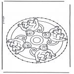 Bricolage cartes de broder - Broderie mandala des animaux