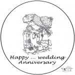 Coloriage thème - Carte …. anniversaire mariage