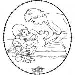 Coloriage thème - Carte à broder -  bébé 1