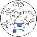 Coloriage thème - Carte à broder -  bébé 2