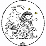 Bricolage cartes de broder - Carte à broder - fille et arbre de Noël