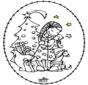 Carte à broder - fille et arbre de Noël