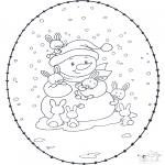 Coloriages hiver - Carte à broder hiver 1