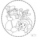Coloriages hiver - Carte à broder hiver 2