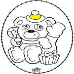 Coloriages Noël - Carte à broder - Noël ours