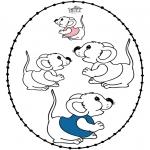 Bricolage cartes de broder - Carte à broder - petite souris