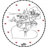 Coloriage thème - Carte à broder Saint Valentin