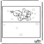 Bricolage coloriages - Carte bébé 4